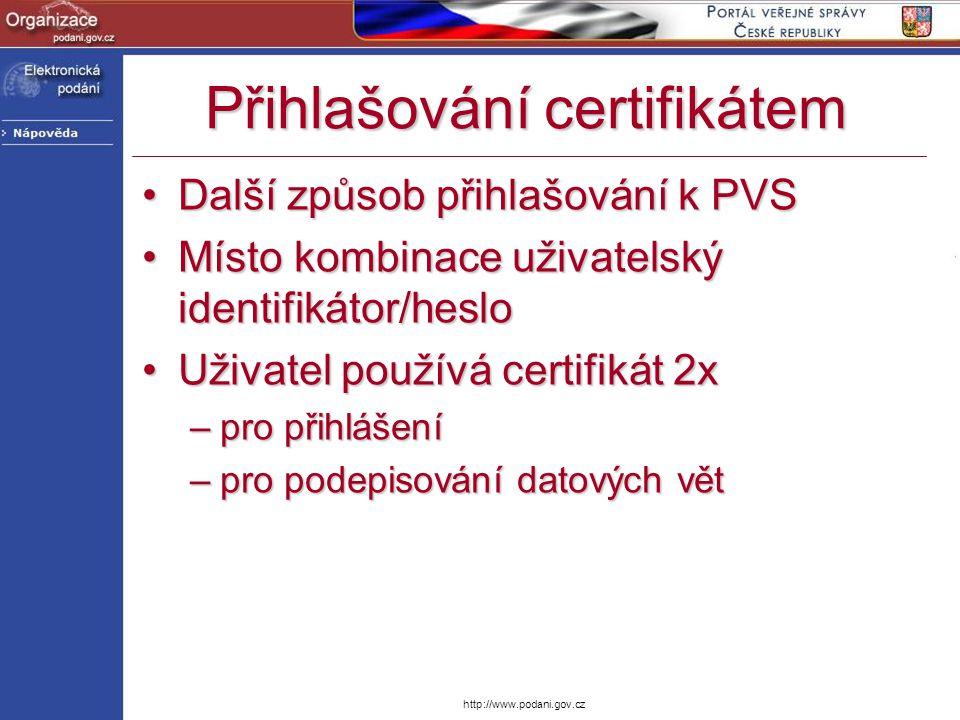 Přihlašování certifikátem