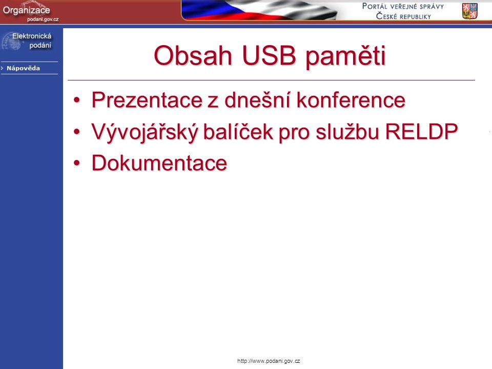 Obsah USB paměti Prezentace z dnešní konference