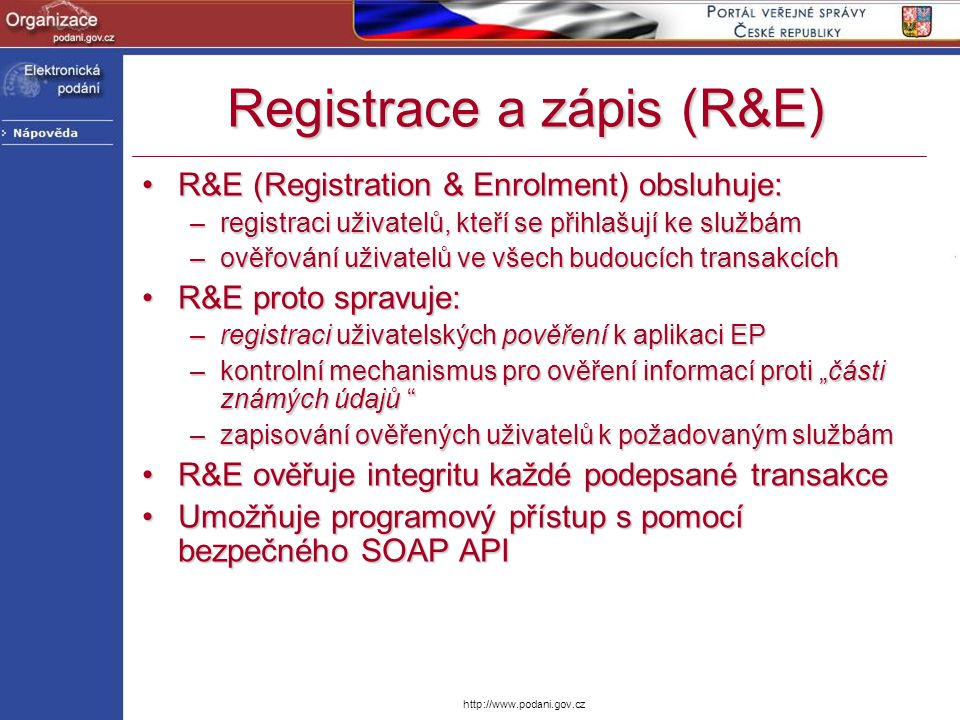 Registrace a zápis (R&E)