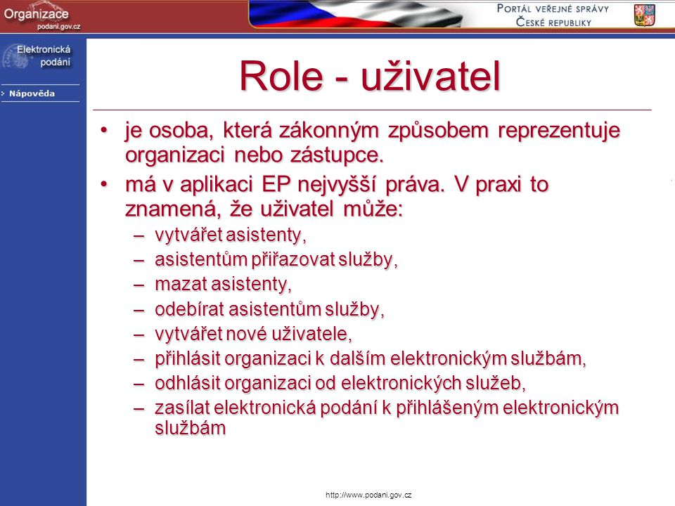 Role - uživatel je osoba, která zákonným způsobem reprezentuje organizaci nebo zástupce.