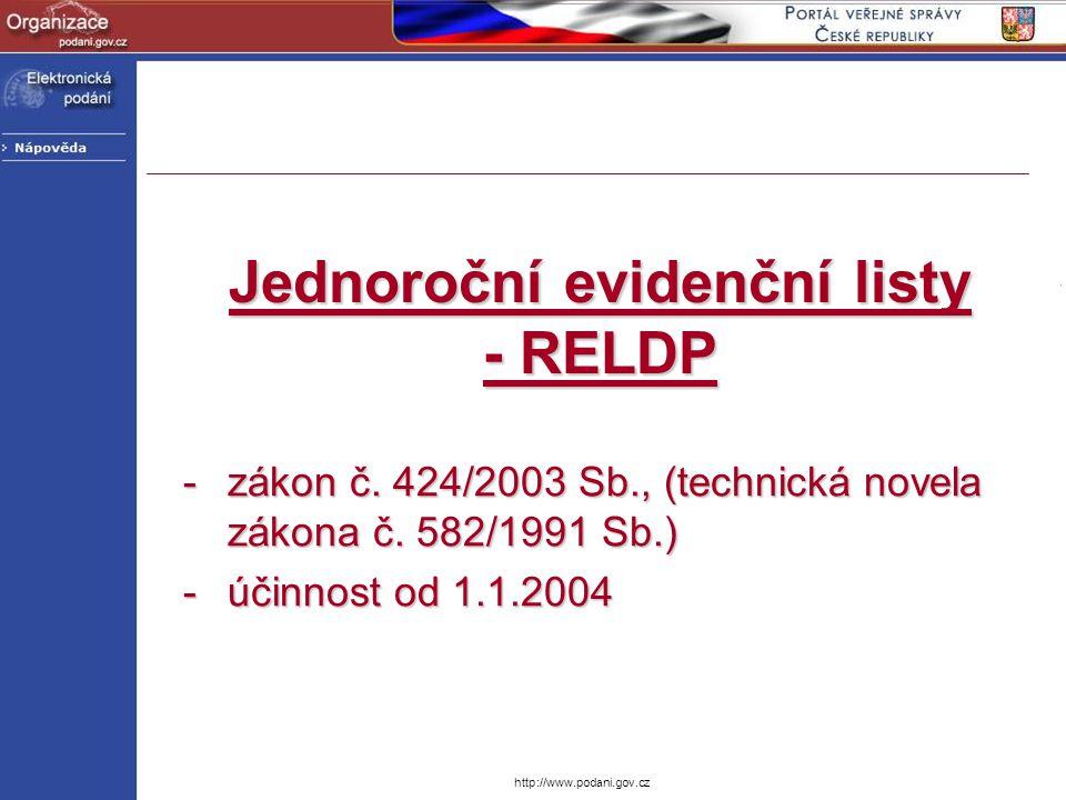 Jednoroční evidenční listy - RELDP