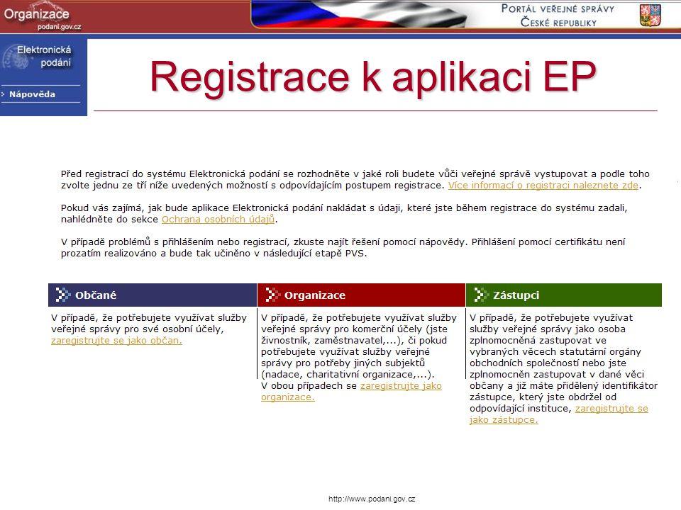 Registrace k aplikaci EP