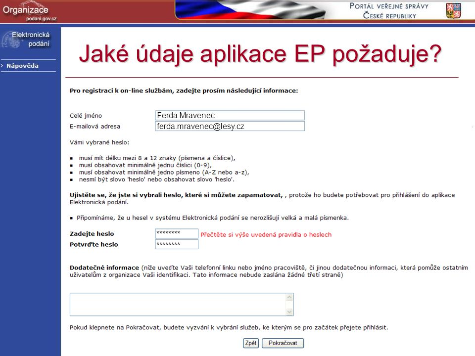 Jaké údaje aplikace EP požaduje