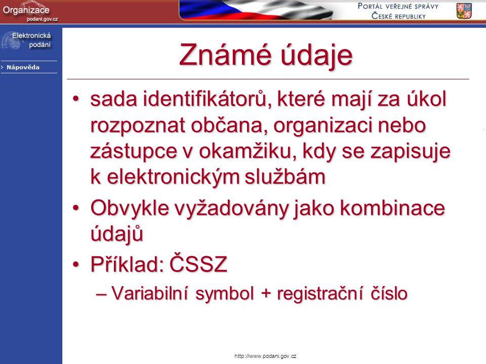 Známé údaje sada identifikátorů, které mají za úkol rozpoznat občana, organizaci nebo zástupce v okamžiku, kdy se zapisuje k elektronickým službám.