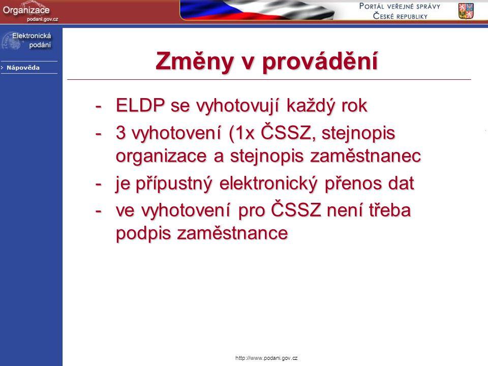 Změny v provádění ELDP se vyhotovují každý rok