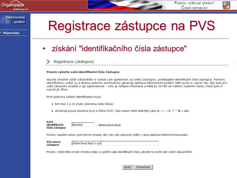 Registrace zástupce na PVS