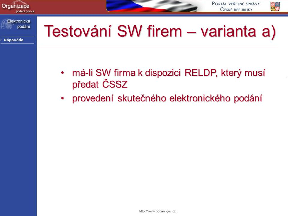 Testování SW firem – varianta a)