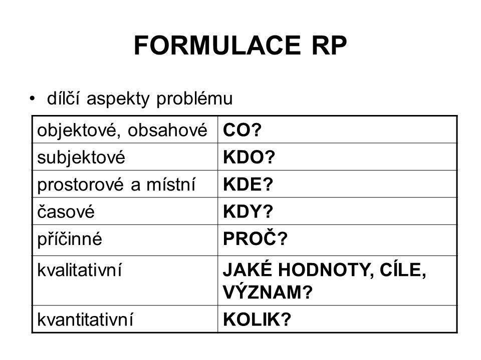 FORMULACE RP dílčí aspekty problému objektové, obsahové CO subjektové