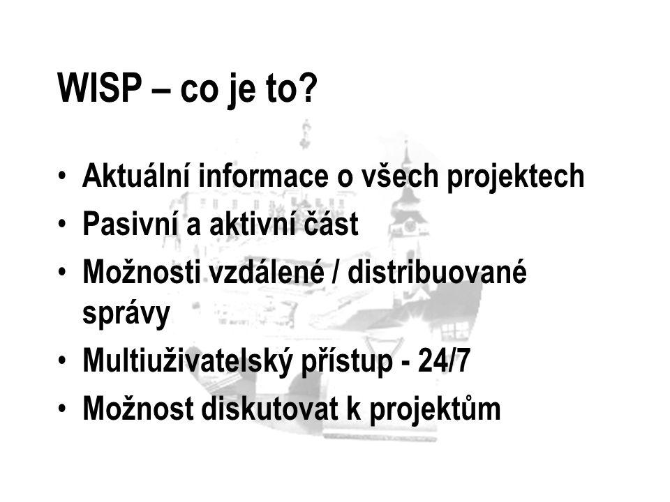 WISP – co je to Aktuální informace o všech projektech