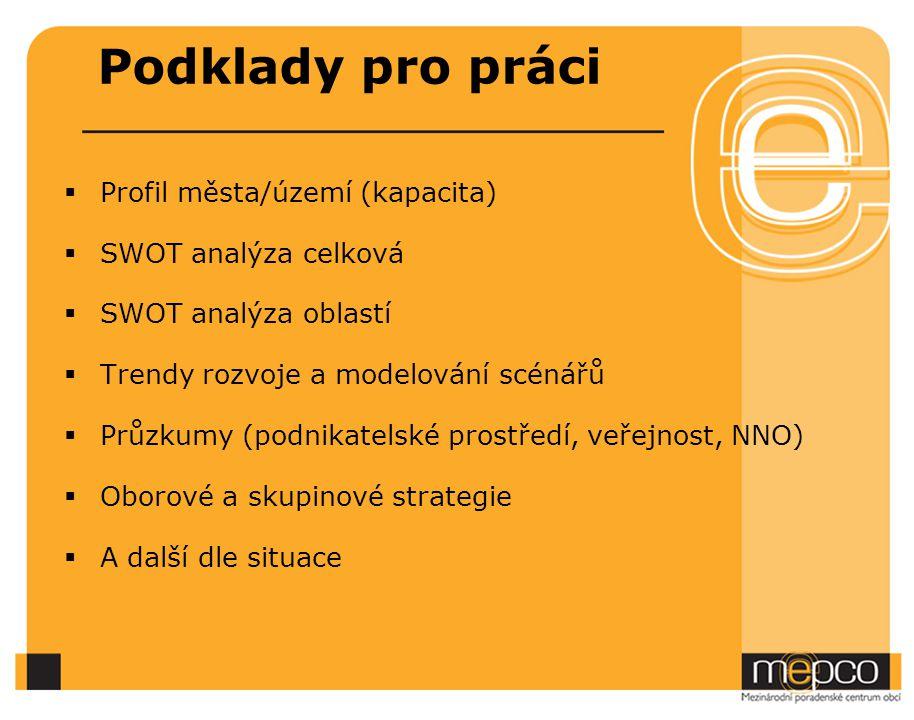 Podklady pro práci Profil města/území (kapacita) SWOT analýza celková