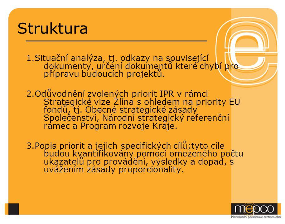 Struktura 1.Situační analýza, tj. odkazy na související dokumenty, určení dokumentů které chybí pro přípravu budoucích projektů.
