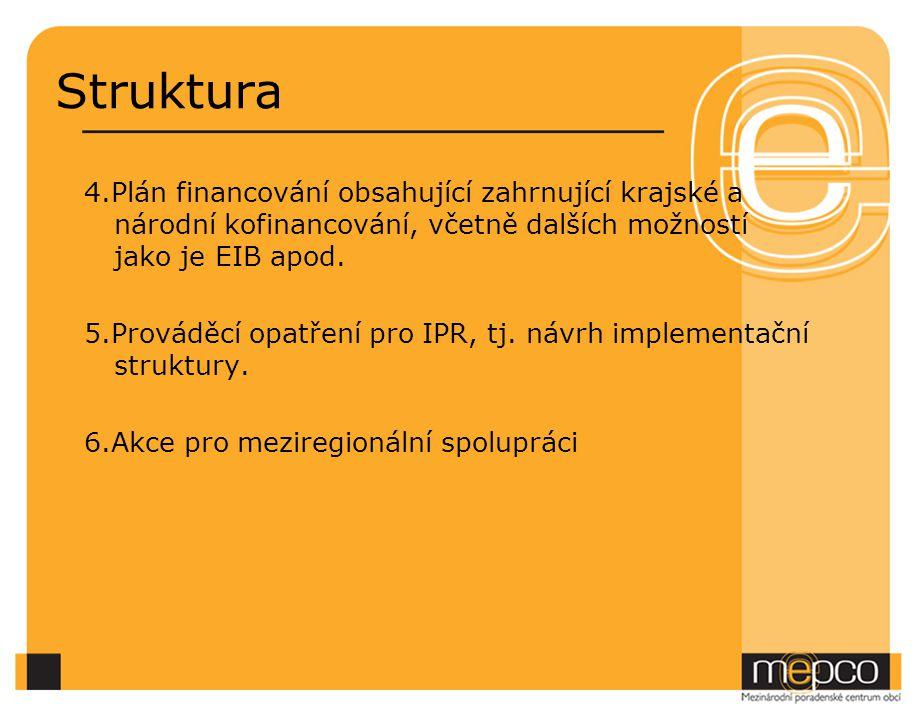 Struktura 4.Plán financování obsahující zahrnující krajské a národní kofinancování, včetně dalších možností jako je EIB apod.