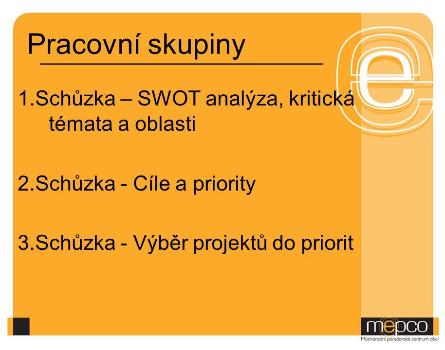 Pracovní skupiny 1.Schůzka – SWOT analýza, kritická témata a oblasti