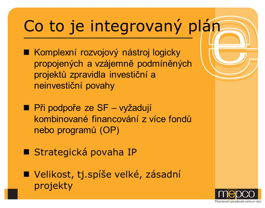 Co to je integrovaný plán
