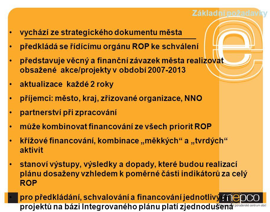 Základní požadavky vychází ze strategického dokumentu města. předkládá se řídícímu orgánu ROP ke schválení.