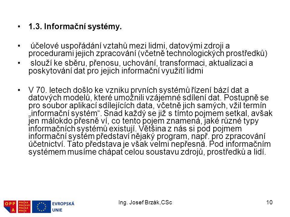 1.3. Informační systémy. účelové uspořádání vztahů mezi lidmi, datovými zdroji a procedurami jejich zpracování (včetně technologických prostředků)