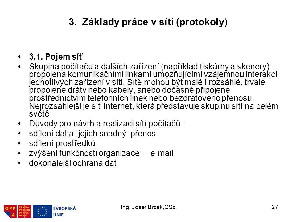 3. Základy práce v síti (protokoly)