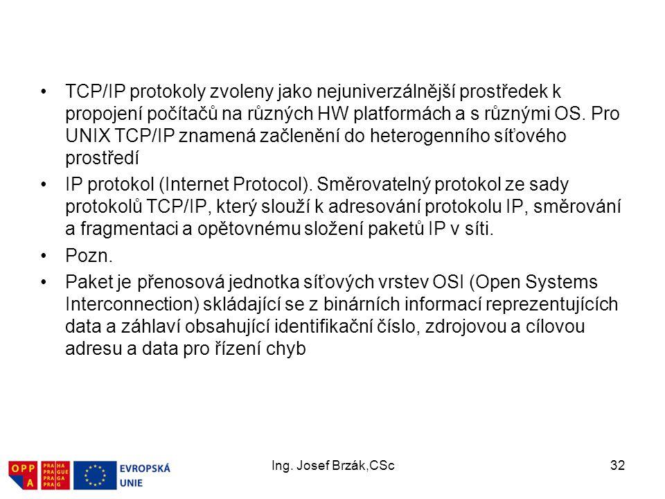 TCP/IP protokoly zvoleny jako nejuniverzálnější prostředek k propojení počítačů na různých HW platformách a s různými OS. Pro UNIX TCP/IP znamená začlenění do heterogenního síťového prostředí