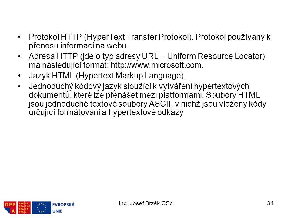 Jazyk HTML (Hypertext Markup Language).