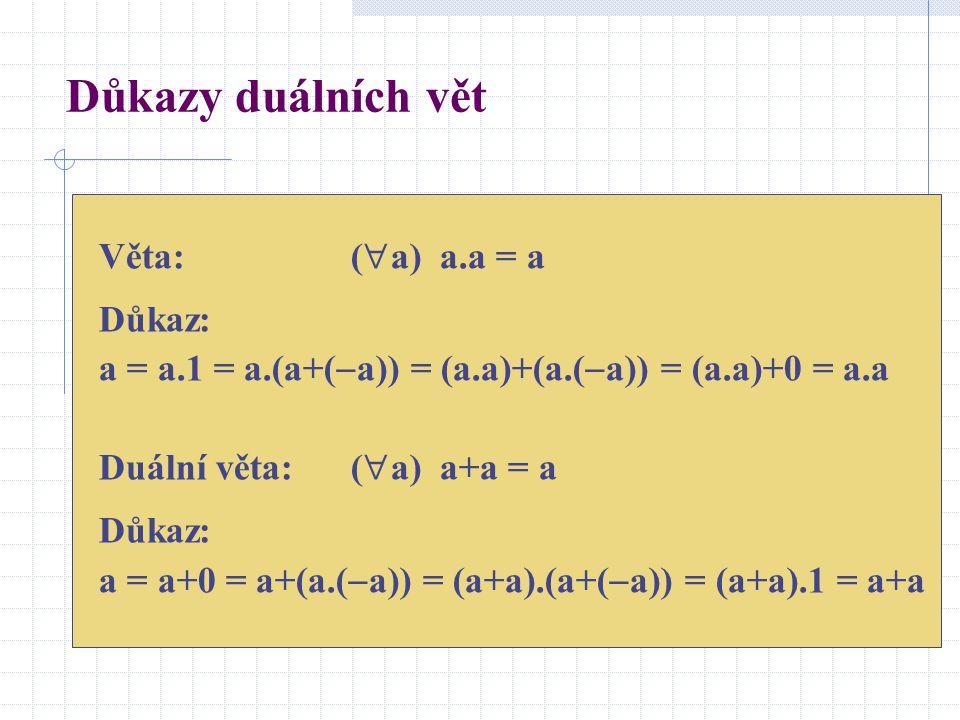 Důkazy duálních vět Věta: (a) a.a = a Důkaz: