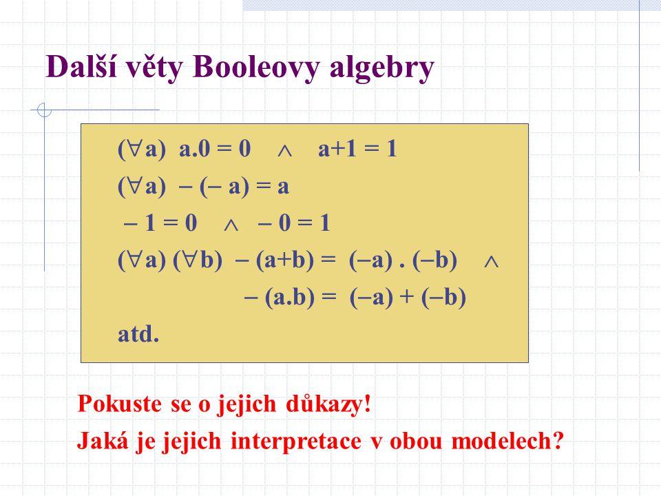 Další věty Booleovy algebry