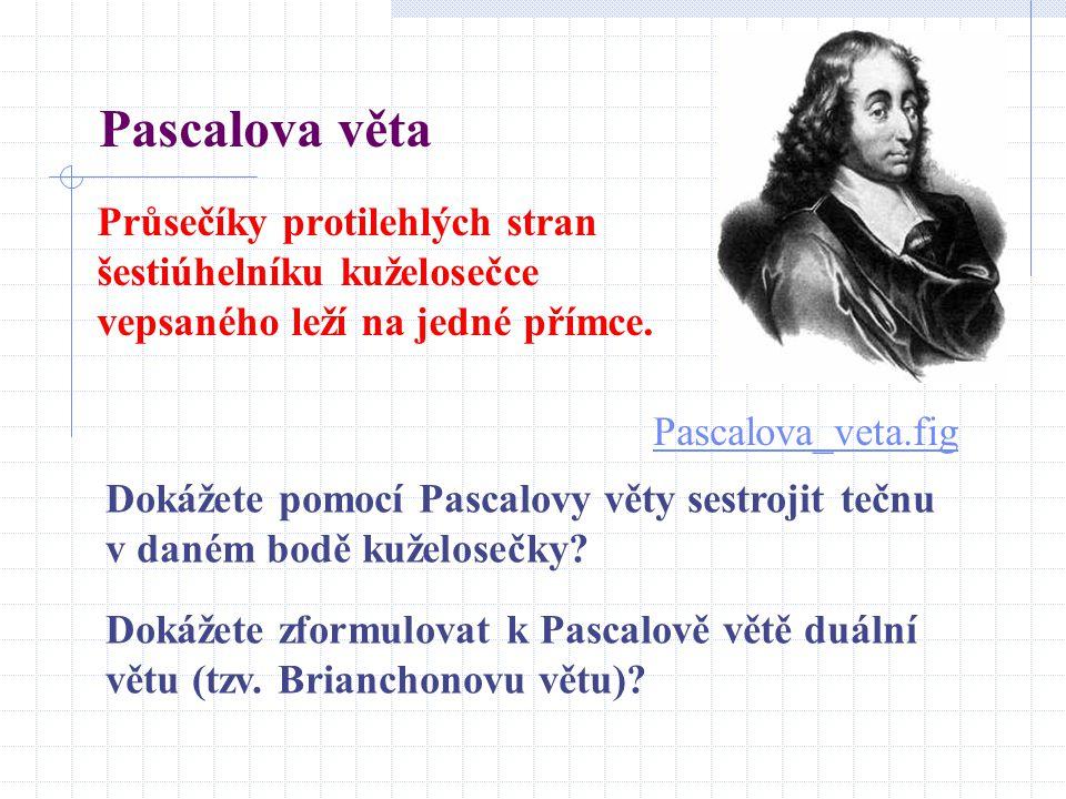 Pascalova věta Průsečíky protilehlých stran šestiúhelníku kuželosečce vepsaného leží na jedné přímce.