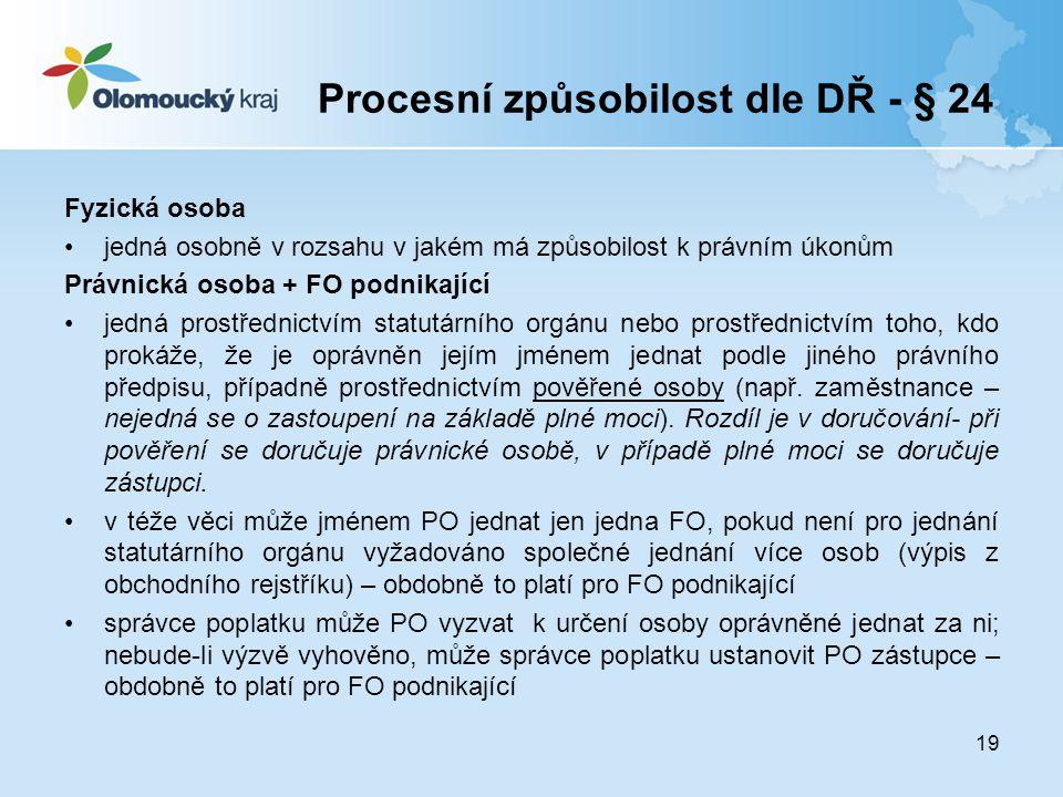 Procesní způsobilost dle DŘ - § 24