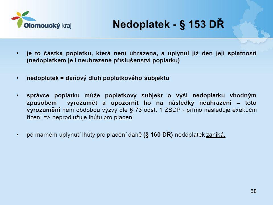 Nedoplatek - § 153 DŘ