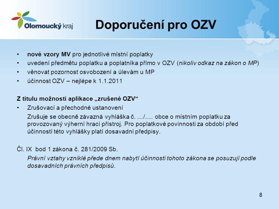 Doporučení pro OZV nové vzory MV pro jednotlivé místní poplatky