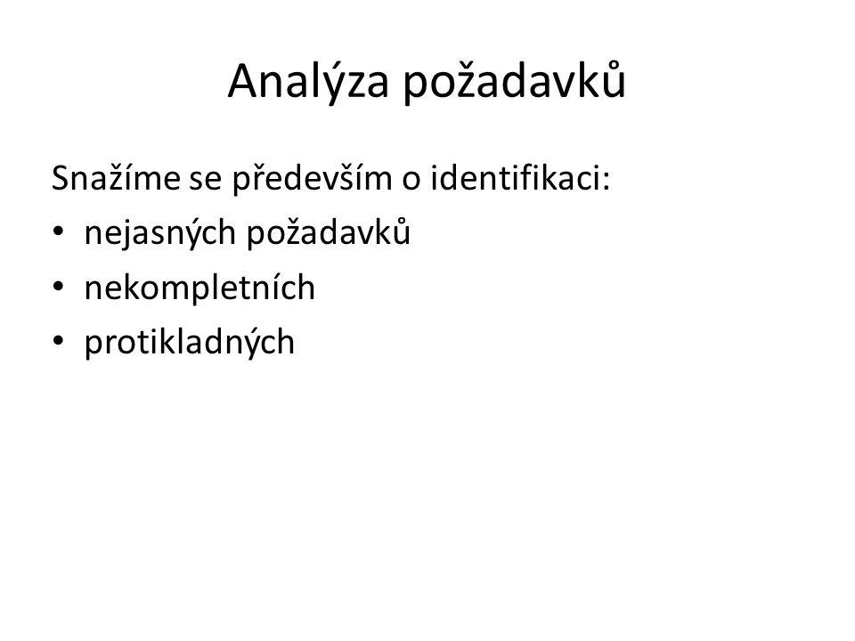 Analýza požadavků Snažíme se především o identifikaci: