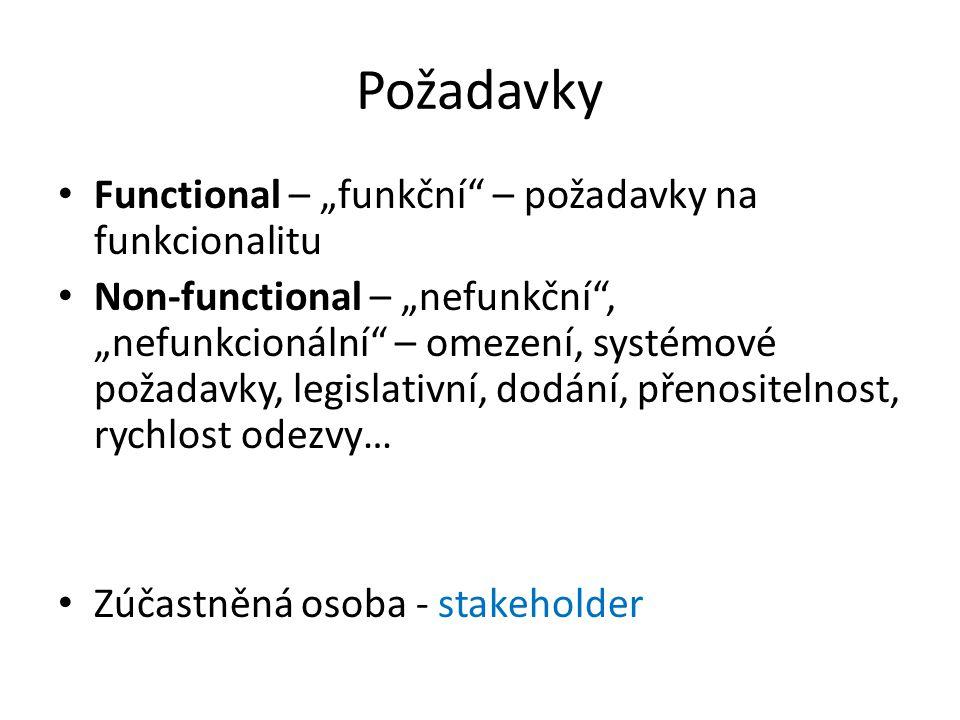 """Požadavky Functional – """"funkční – požadavky na funkcionalitu"""
