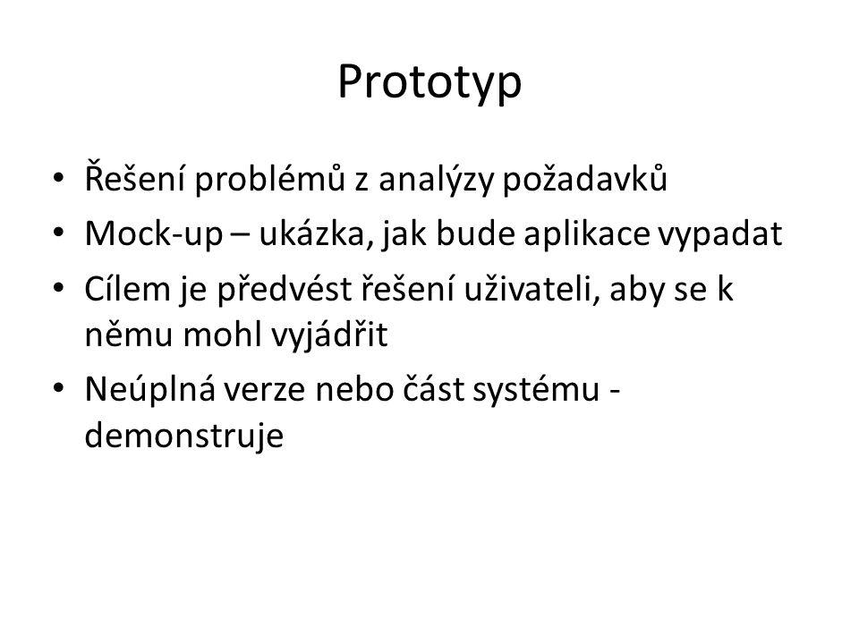 Prototyp Řešení problémů z analýzy požadavků