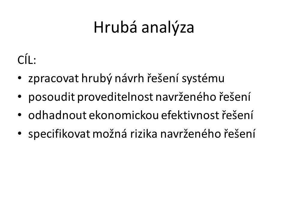 Hrubá analýza CÍL: zpracovat hrubý návrh řešení systému