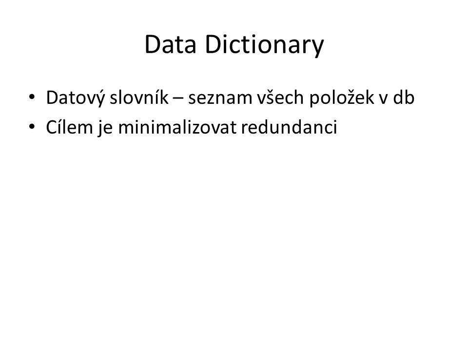 Data Dictionary Datový slovník – seznam všech položek v db