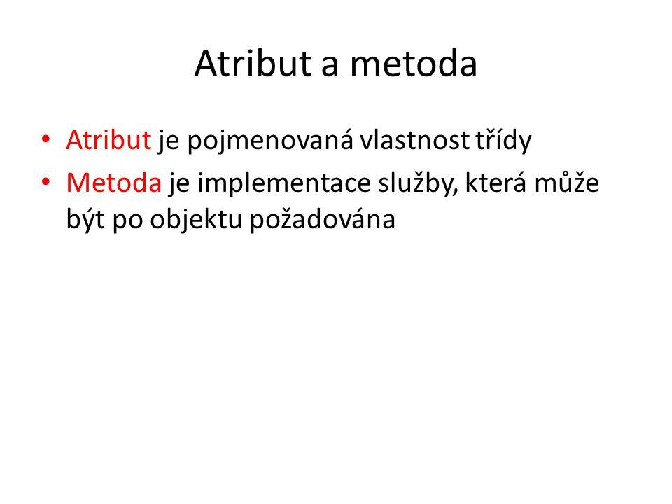 Atribut a metoda Atribut je pojmenovaná vlastnost třídy