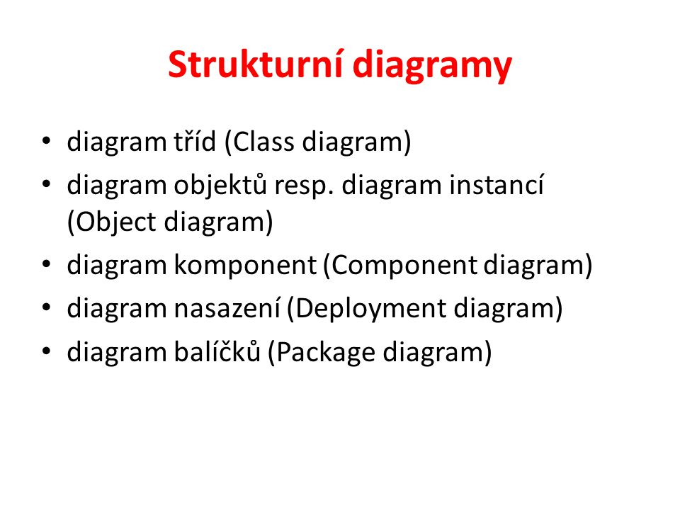 Strukturní diagramy diagram tříd (Class diagram)