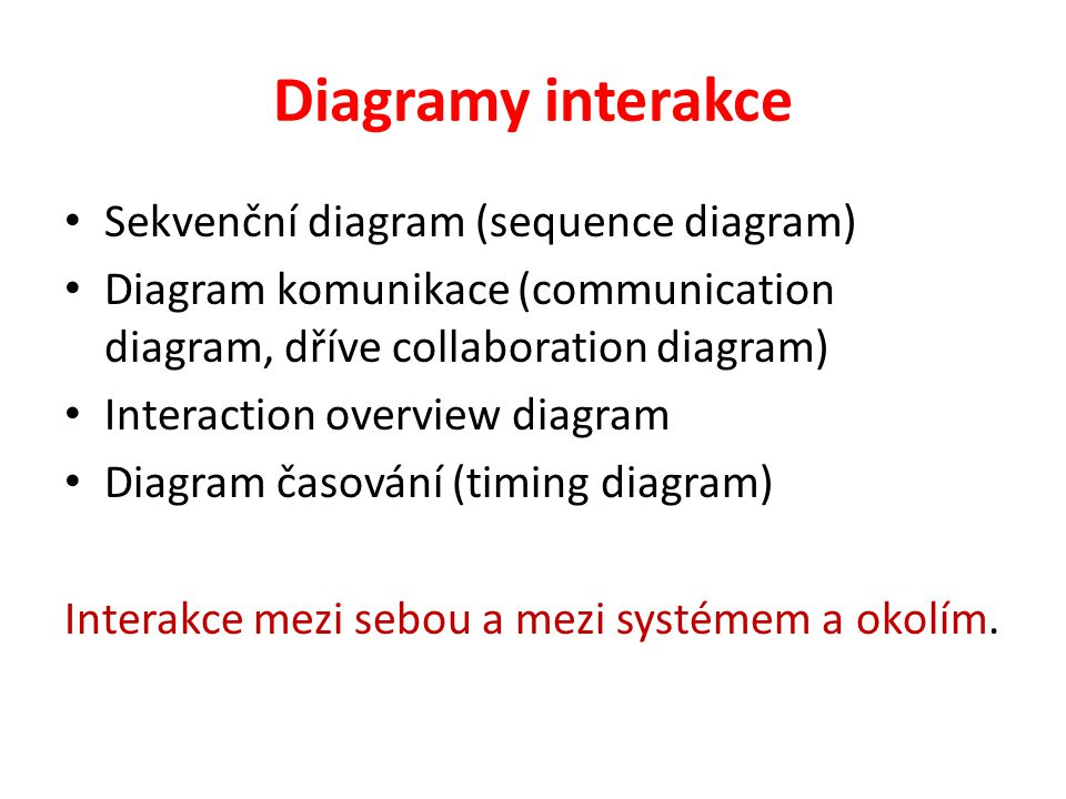 Diagramy interakce Sekvenční diagram (sequence diagram)