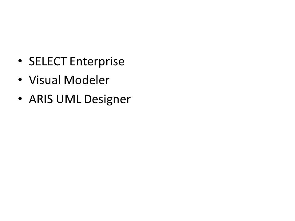 SELECT Enterprise Visual Modeler ARIS UML Designer