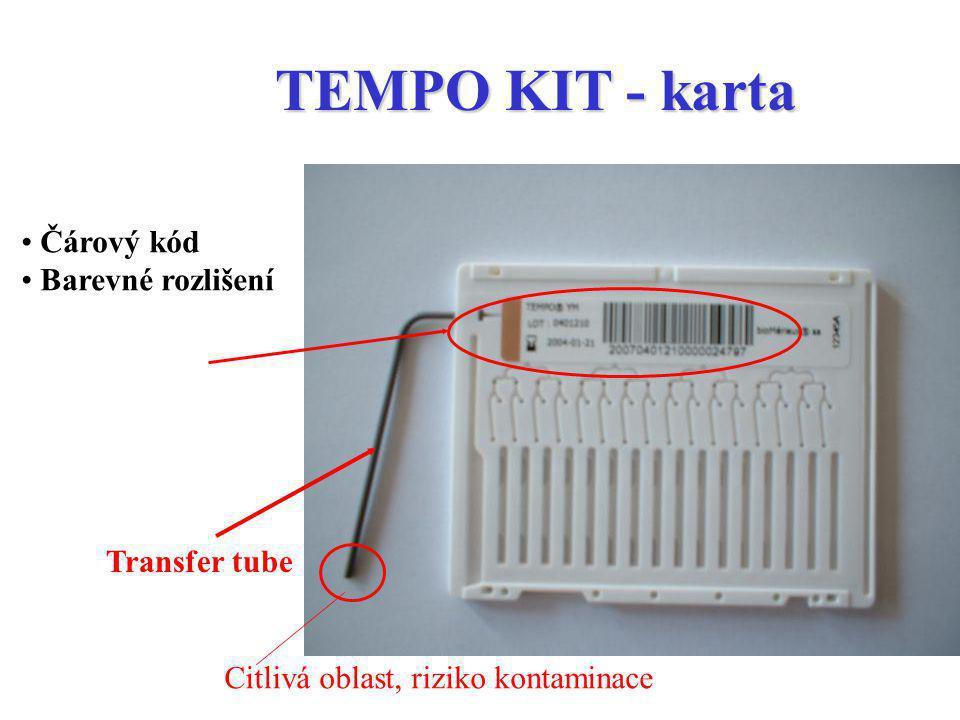 TEMPO KIT - karta Čárový kód Barevné rozlišení Transfer tube
