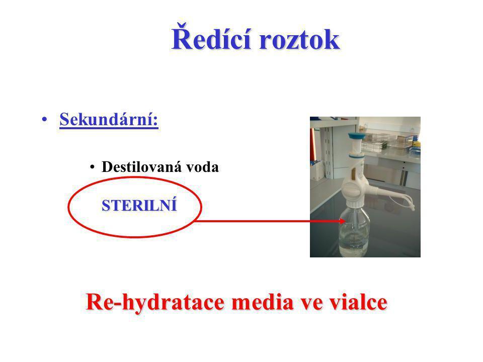 Ředící roztok Re-hydratace media ve vialce Sekundární: