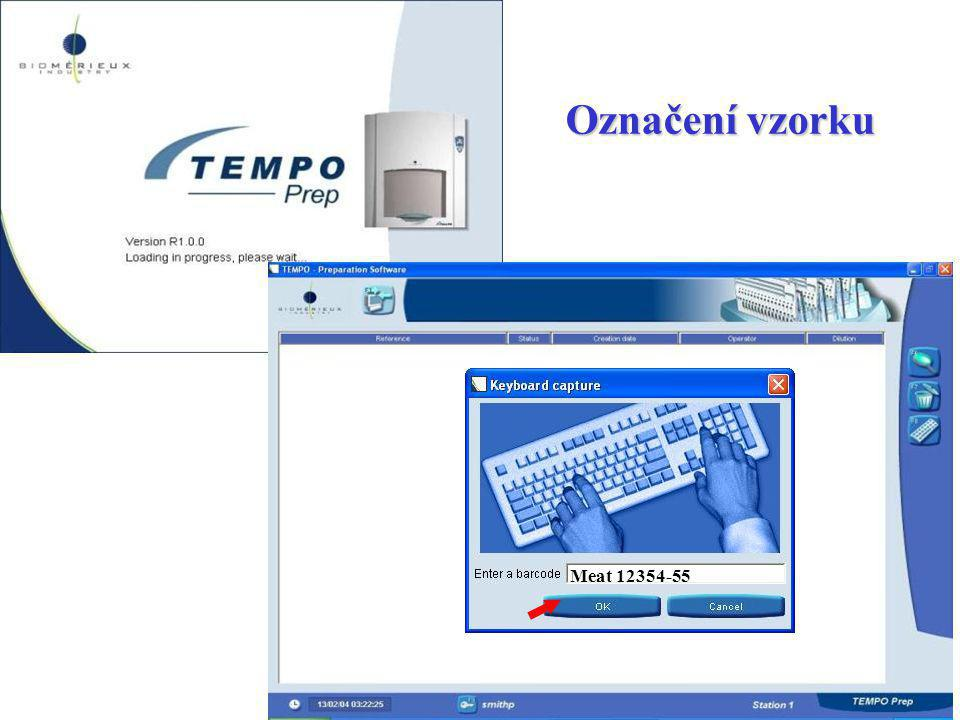 Označení vzorku Meat 12354-55. By pressing on F8, you can identify your sample, either with the keyboard or by screening its barcode.