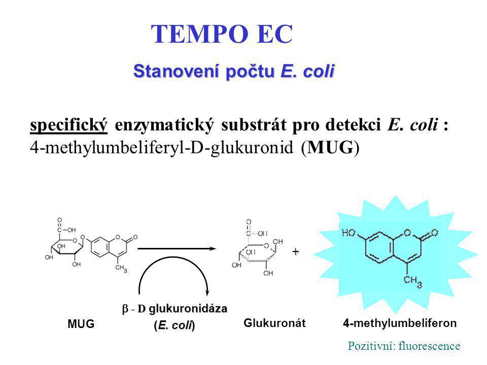 Stanovení počtu E. coli TEMPO EC. specifický enzymatický substrát pro detekci E. coli : 4-methylumbeliferyl-D-glukuronid (MUG)