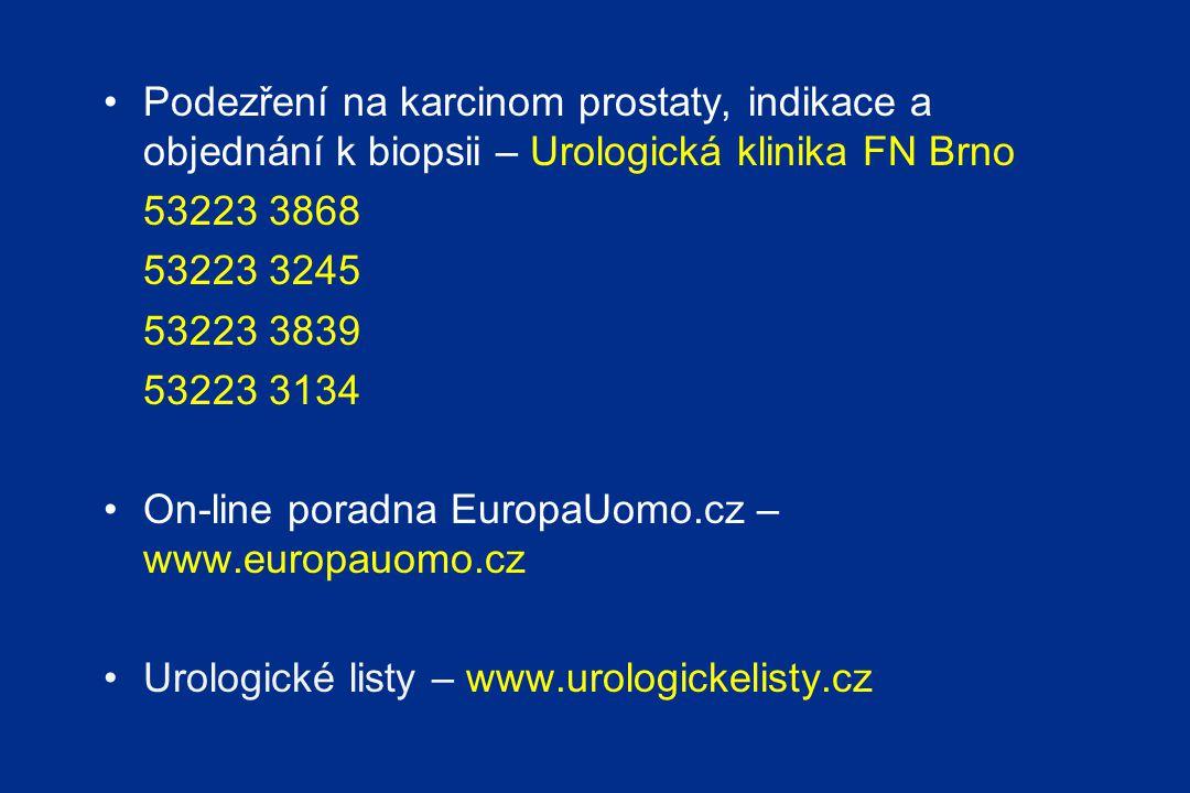Podezření na karcinom prostaty, indikace a objednání k biopsii – Urologická klinika FN Brno