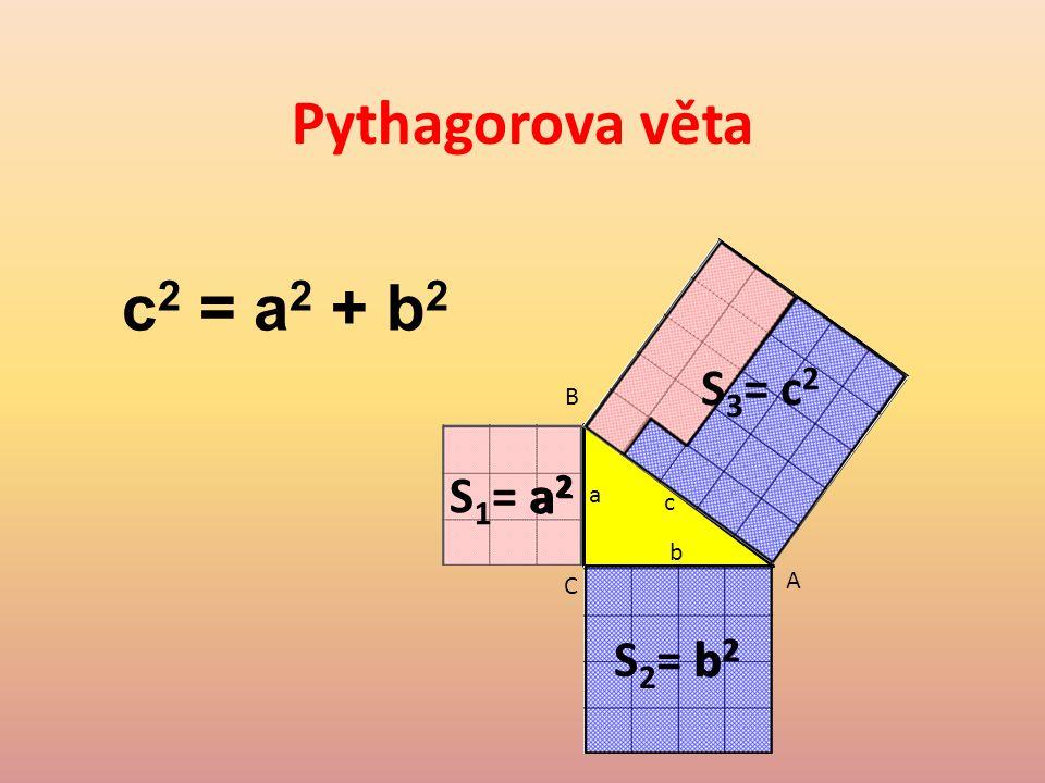 Pythagorova věta c2 = a2 + b2 S3= c2 B S1= a2 a2 a c b C A S2= b2 b2