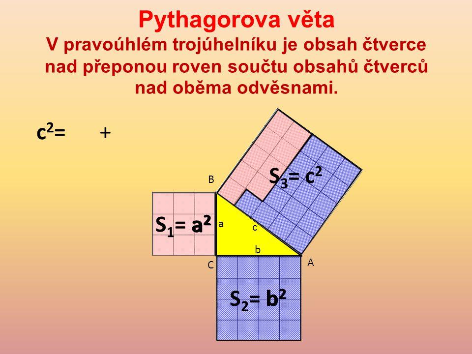 Pythagorova věta V pravoúhlém trojúhelníku je obsah čtverce nad přeponou roven součtu obsahů čtverců nad oběma odvěsnami.