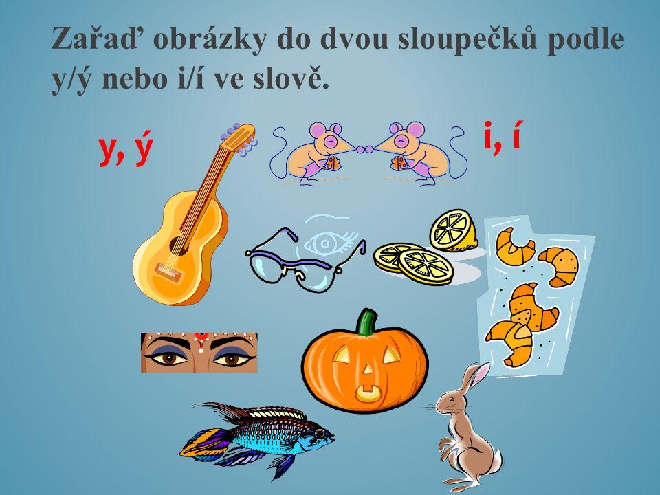 Zařaď obrázky do dvou sloupečků podle y/ý nebo i/í ve slově.