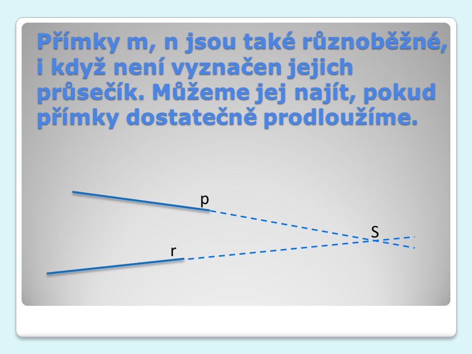 Přímky m, n jsou také různoběžné, i když není vyznačen jejich průsečík