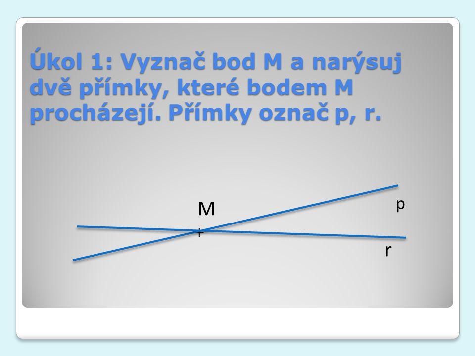 Úkol 1: Vyznač bod M a narýsuj dvě přímky, které bodem M procházejí