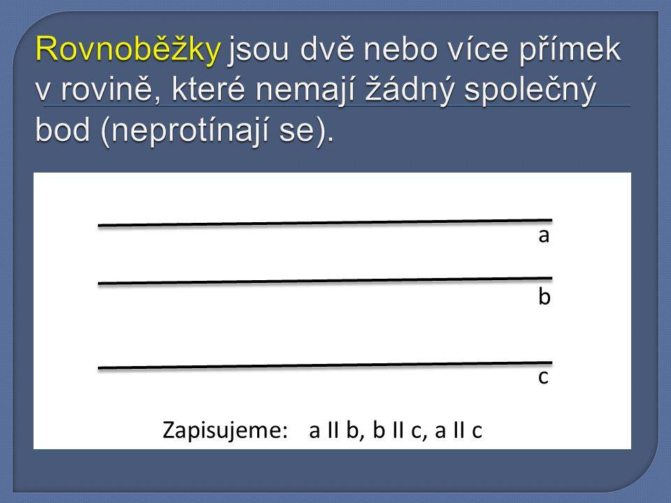 Rovnoběžky jsou dvě nebo více přímek v rovině, které nemají žádný společný bod (neprotínají se).