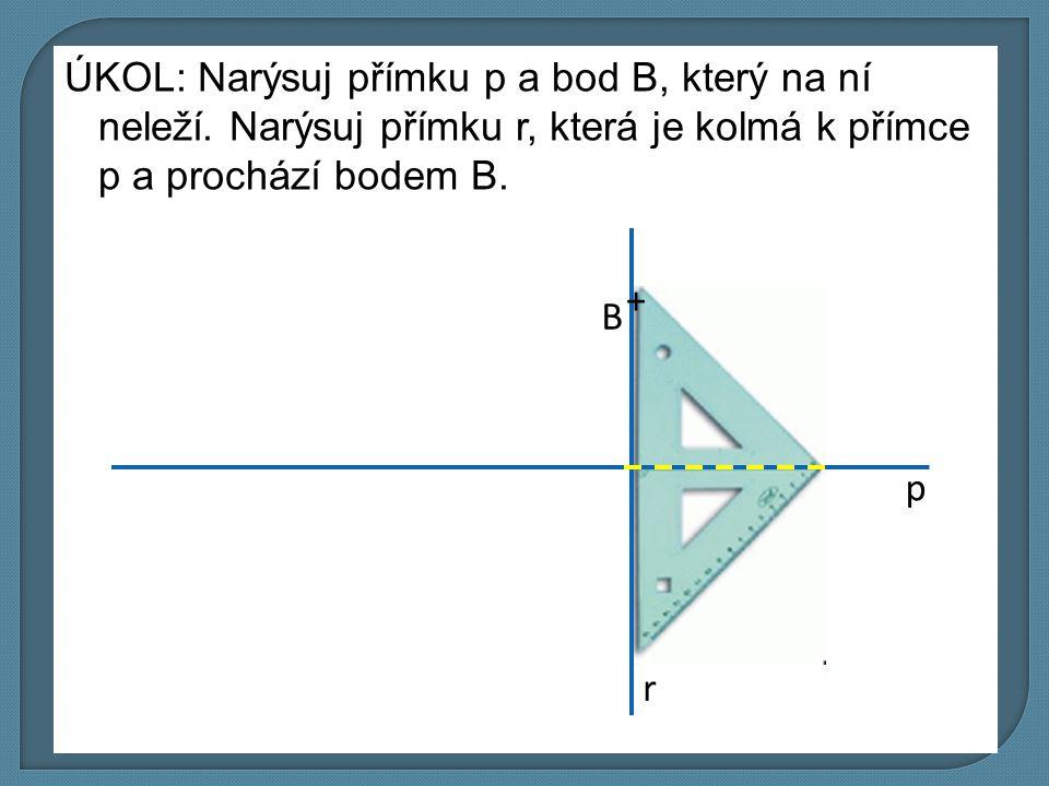 ÚKOL: Narýsuj přímku p a bod B, který na ní neleží